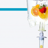 feature image for IV nutrition intravita drip with a blue line and an IV bag filled with fruits and vitamins