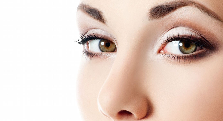 Woman's eyes looking at camera background image for accutite treatment