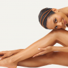 Sclerotherapy for Leg Veins . Woman in white hugging her legs and resting head on knee. 3d-lipo-cavitation